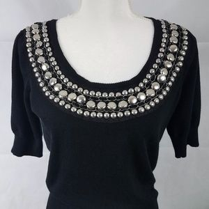 Knit Sweater with Velvet, Lace & Metal Beads